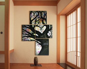 Tree Painting on Canvas Abstract Contemporary Modern Art - Engagement Gift Wall Decor, Unique Wedding Gift 26'' x 18''
