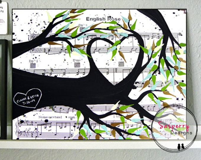 Personalized Wedding Gift First Dance Lyric on Canvas, Tree of Life Painting by Sasperry Designs