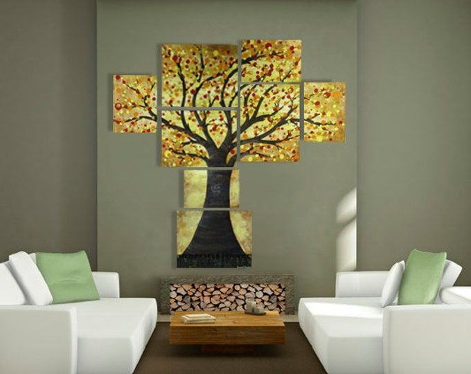 Large Multi Canvas Tree Painting w/ Abstract Orange Red Yellow Gold Leaves - Contemporary Wall Art for Bedroom, Livingroom, Dining Room