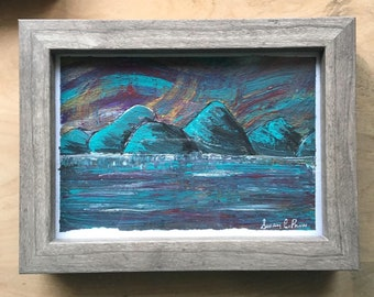 Made in Canada Abstract Lake Paintings - Small Original Landscapes in Grey Wood Frames - 5 x 7 Acrylic Mountains