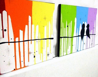 "Rainbow Love Birds Art On Canvas Large  40"" x 16""x 0.5"""