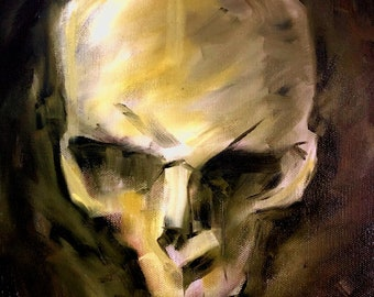 Green Olive Skull Oil Painting on Canvas Board