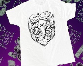 Pizza Pentagram Sick Kitty T-shirt