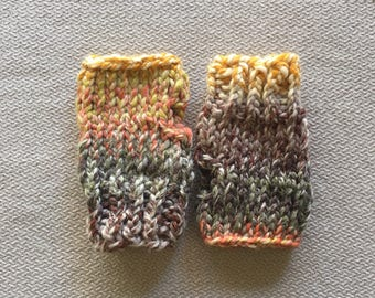 Fingerless gloves wristwarmers - chunky knit fall multi colors glove