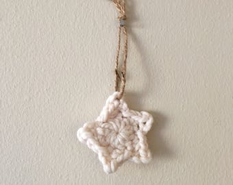Rustic handmade knit star ornament - cream and tan // set of 6