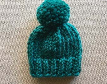 Teal green chunky knit baby hat beanie with pom
