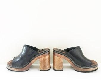 c1b34fd7424f Y2K Candies Platform Black Slide Sandal Shoes - Women's 7 - Vintage 90s