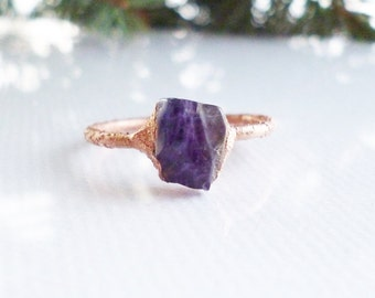 Amethyst ring, raw stone ring, natural crystal ring, stackable rings, electroformed