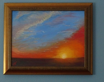"""Out of the Blue Sunset Seascape Oil Painting - Ocean sunset in orange, gold and blue tones, framed 17' by 15"""""""