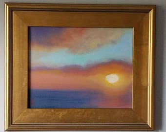 """Glowing Golden Sunset in Turquoise Sky original oil painting 14"""" x 11"""""""