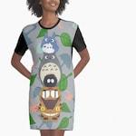 Totoro My Neighbor T-Shirt Dress Kawaii Shirt Totem Tee Ghibli Top Tunic Gift Catbus Soot Sprite Apparel Shirtdress Woodland Forest Chibi