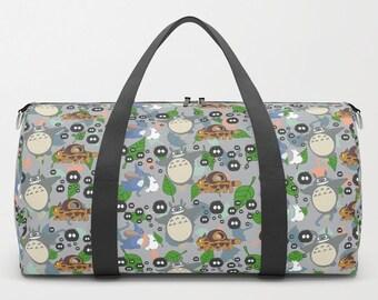 b3ae1dcb15d1 Totoro DUFFEL BAG Ghibli Duffle Gym Travel Suitcase Grey Pastel Woodland  Forest Chibi Catbus Soot Sprite Anime Movie Children Kid Cute Fun