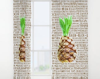 Psych WINDOW CURTAINS TV Show Decorative Funny Quote House Home Art Decor Fan Pineapple Shawn Gus Television Gift Drapes Treatment Nicknames