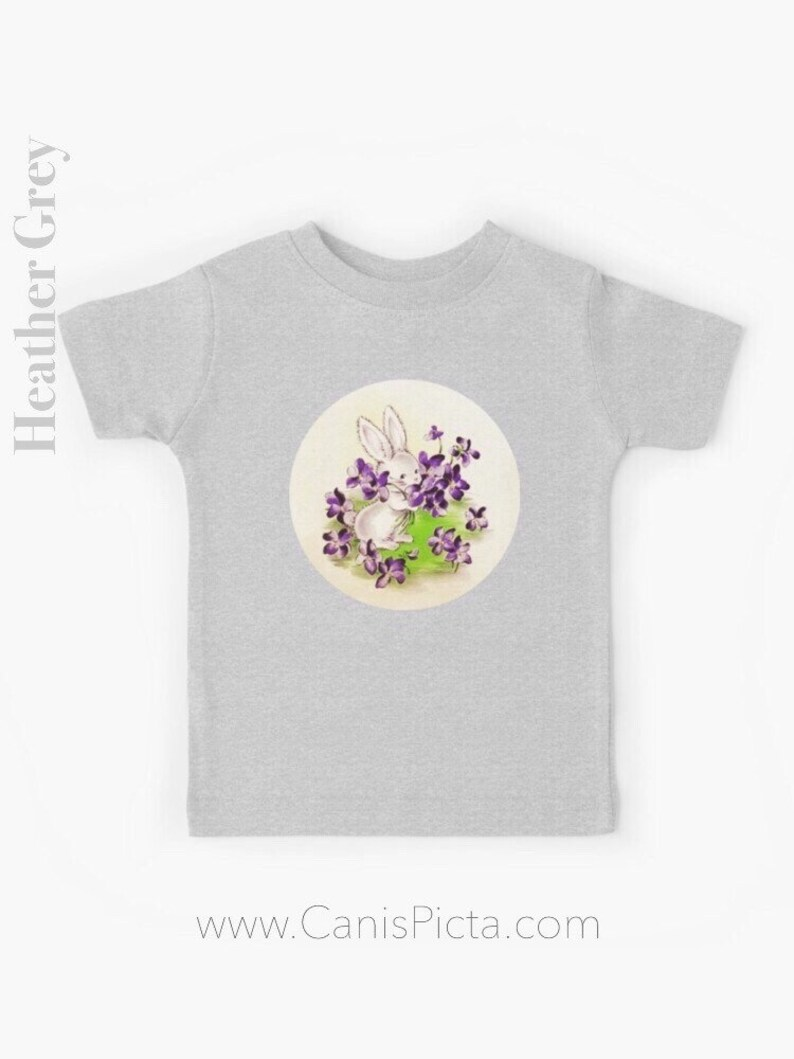 Lilac Easter Bunny KIDS T-shirt Gift Boy Girl Tee Shirt Heather Grey
