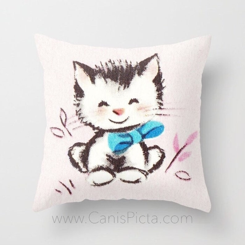 Kitten Throw Pillow Cushion Cover Decorative Home Decor Couch image 0
