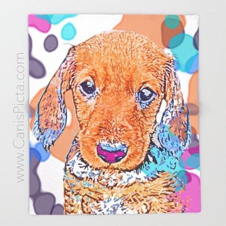 Dachshund Puppy Blanket Throw Fleece Pop Art Dog Home Interior image 0