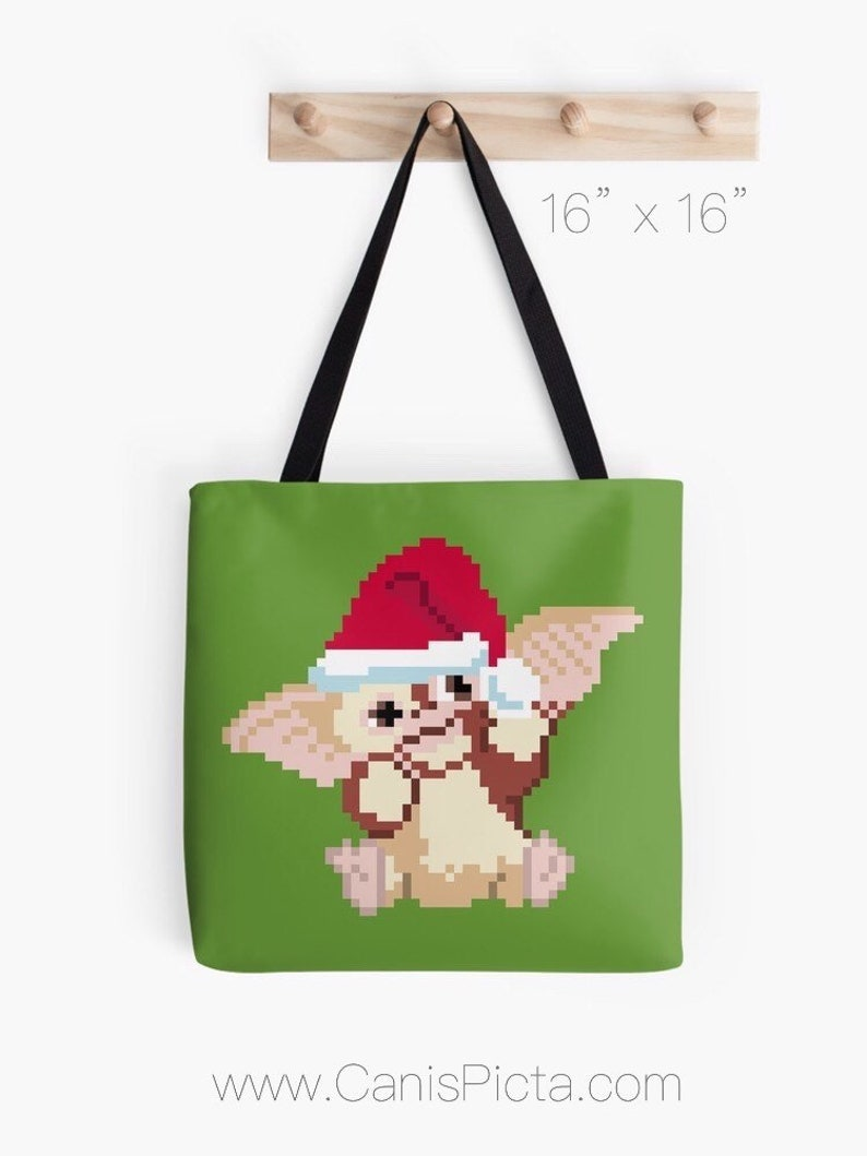 Christmas Gizmo Tote Bag Pop Art Carryall Reusable Purse Handbag Modern Green Red Santa Hat 8 Bit Pixel Gremlins Fandom Xmas Holiday 8bit