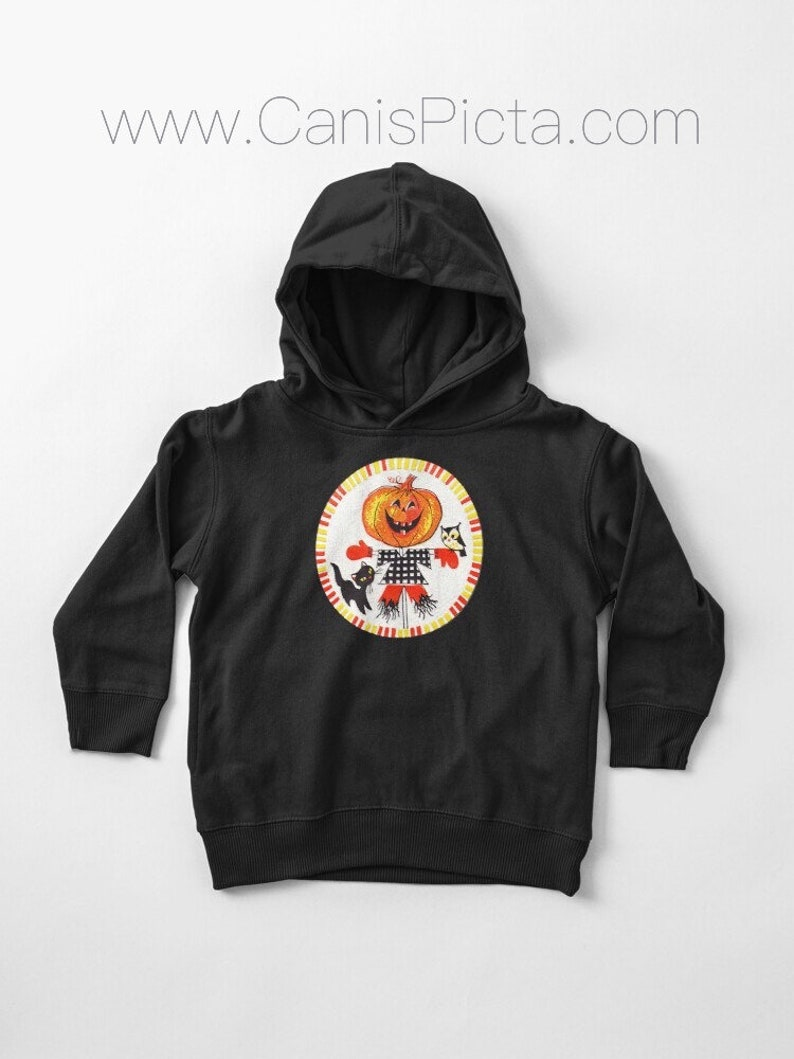 Halloween Friends TODDLER Pullover Hoodie Babies Girl Boy Baby Shower Gift Soft Fashion Pumpkin Black Cat Owl Scarecrow Vintage Jack Lantern
