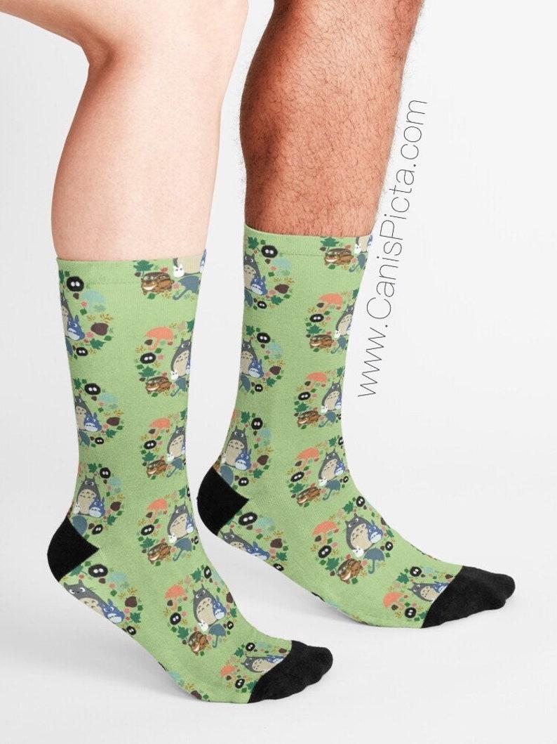 Green Totoro Wreath Pattern SOCKS Gift Soft Socksy Feet image 0