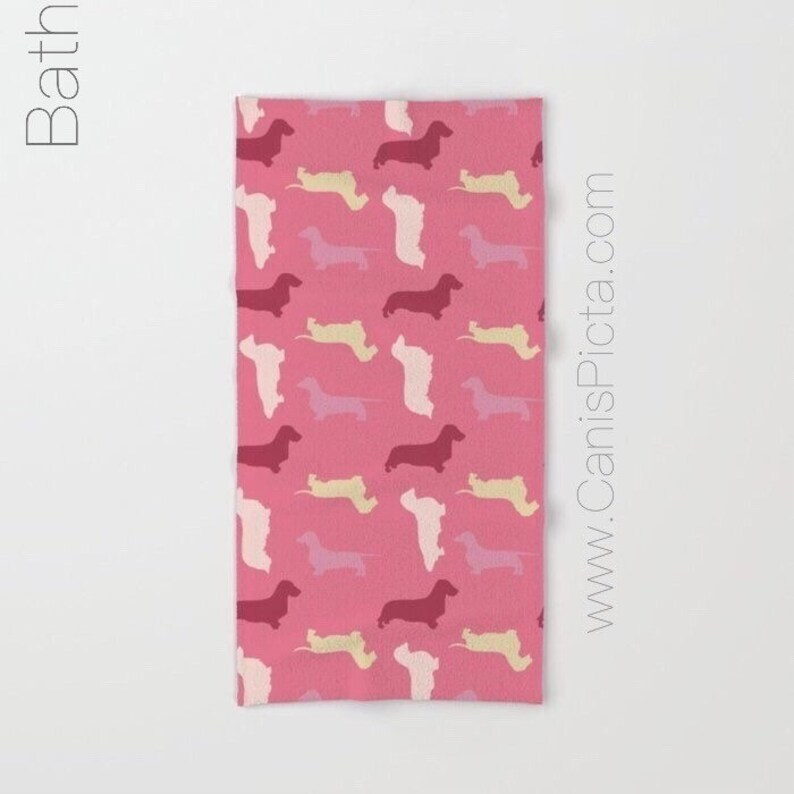 Dachshund Pattern Towel Bath Beach Terry Hand Bathroom Decor image 0
