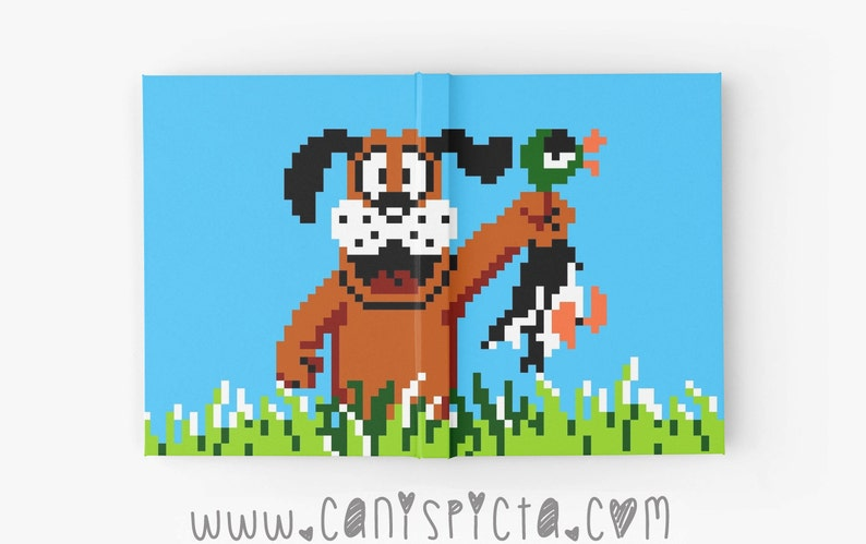 dee97a4f577 Duck Hunt Journal Video Game Retro Notebook Sketchbook 8 Bit Gaming Gamer  Bound Gift for Geek Book Diary Art Blue Dog Green Retriever 80s