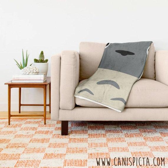 Totoro Blanket Ghibli Throw Kawaii Fleece Studio Home Decor Etsy Simple Kawaii Throw Blanket