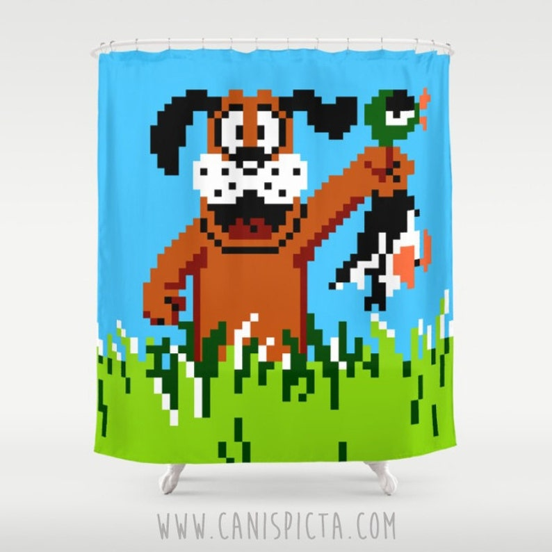 Duck Hunt Shower Curtain 71x74 Video Game Home