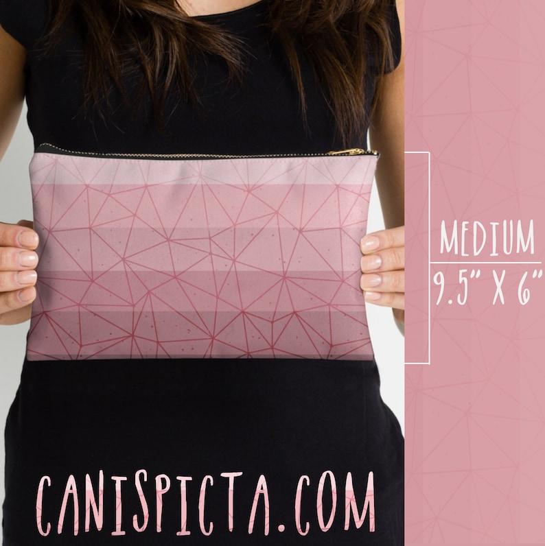 Millennial Dust Pink Ombre Studio Pouch Rose Pastel Accessory Clutch Bag Carryall Purse Geometric Zipper Purple Mauve Vector Pencil Bag Case