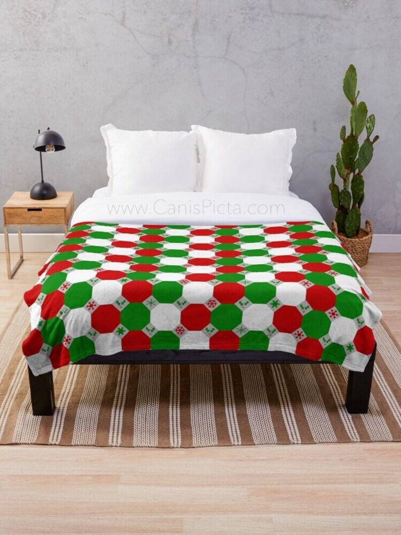 Geometric Christmas Blanket Throw Fleece Home Decor Soft image 0
