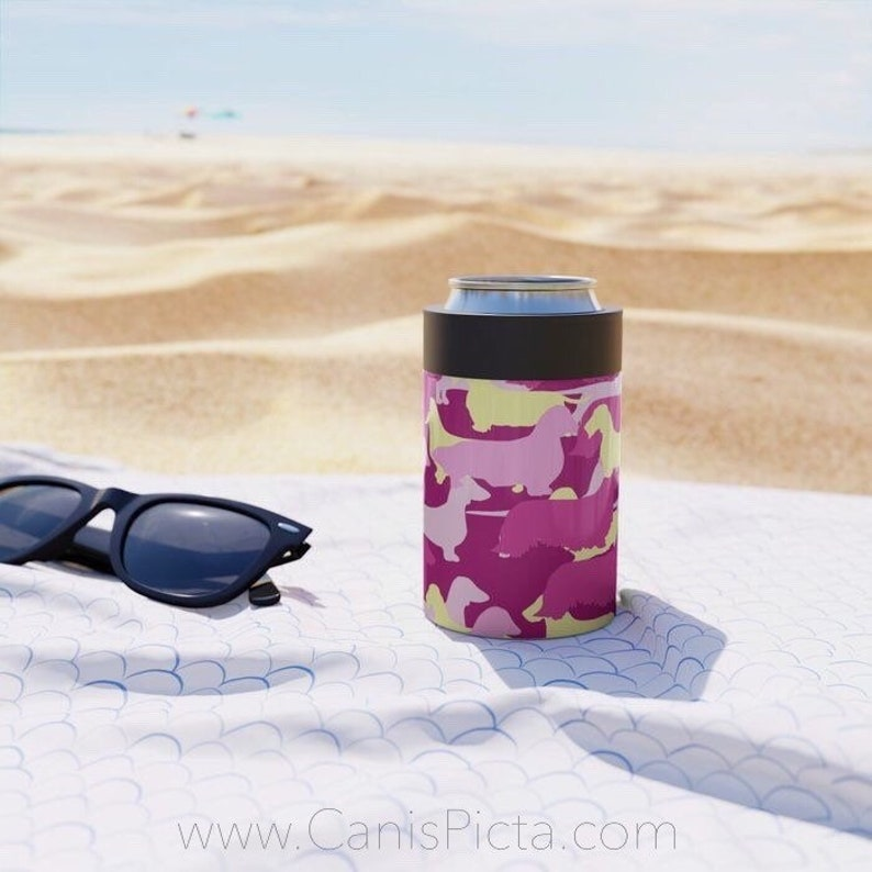 Pink Camo Dachshund CAN COOLER  Soda Soft Drink Beverage Cold image 0