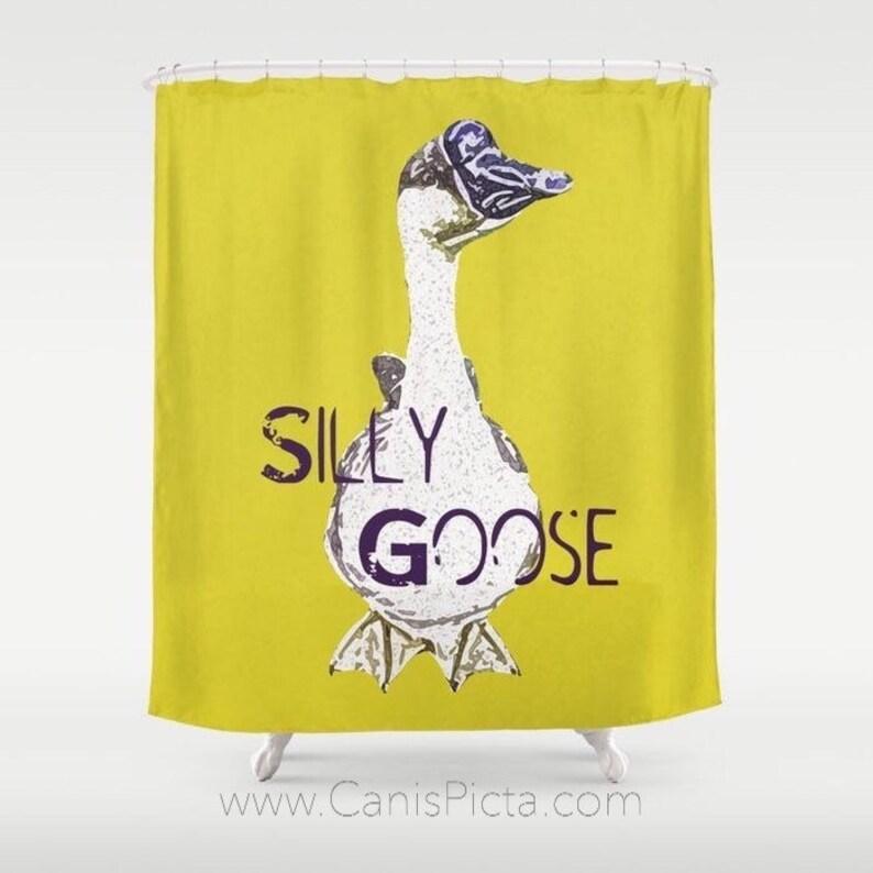 Silly Goose Shower Curtain 71x74 Decorative Bath Tub Room image 0