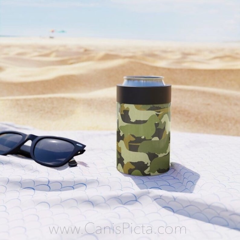 Camo Dachshund CAN COOLER  Soda Soft Drink Beverage Cold Brew image 0