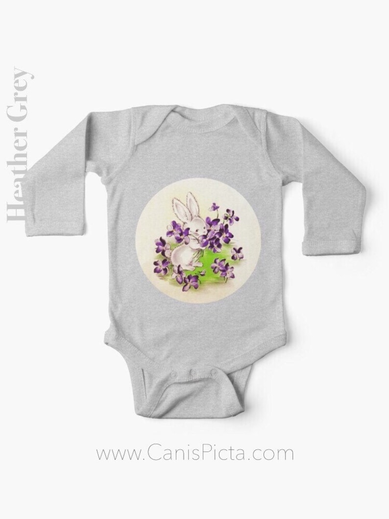 Lilac Easter Bunny LONG SLEEVE Romper One Piece Babies Girl Heather Grey