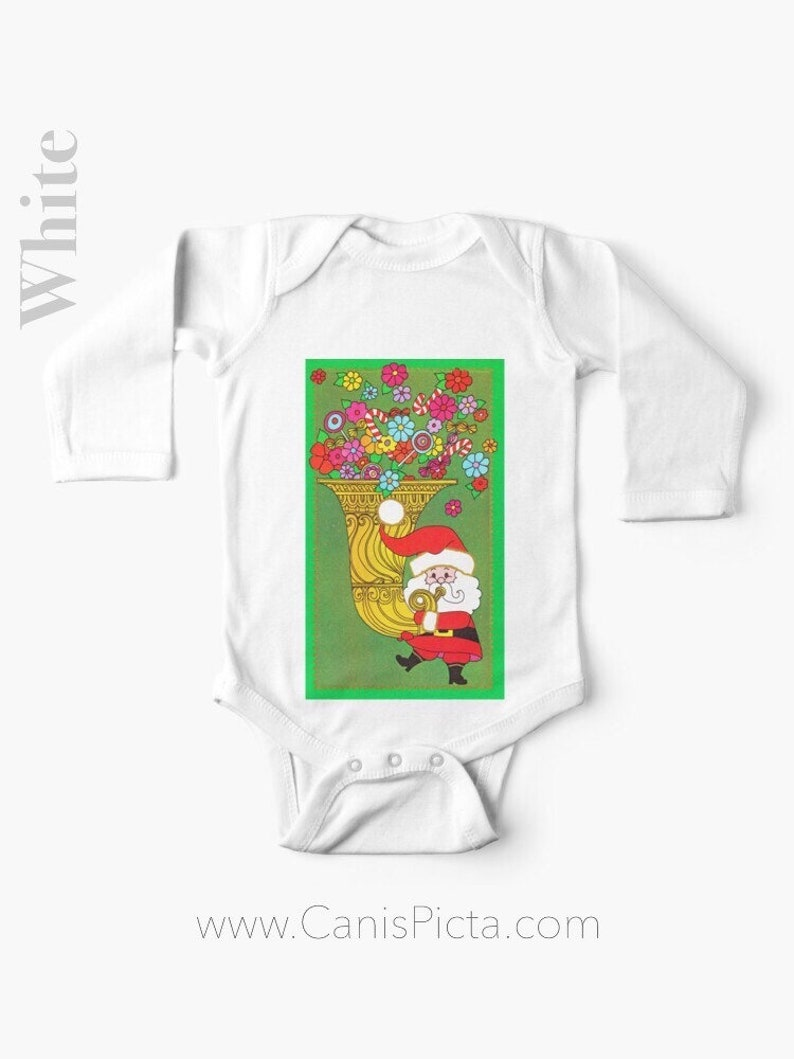 Christmas Santa Claus LONG SLEEVE Romper One Piece Babies Girl image 0