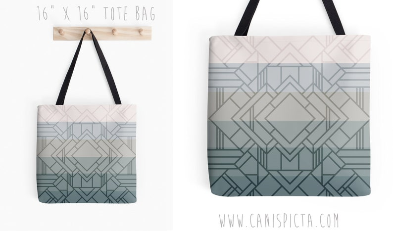 Gatsby Ombre Tote Bag Geometric 1920s Neutral Twenties 30s 20s Inspired Flapper Grey Purse Gift Green Blue Idea Small Large Medium
