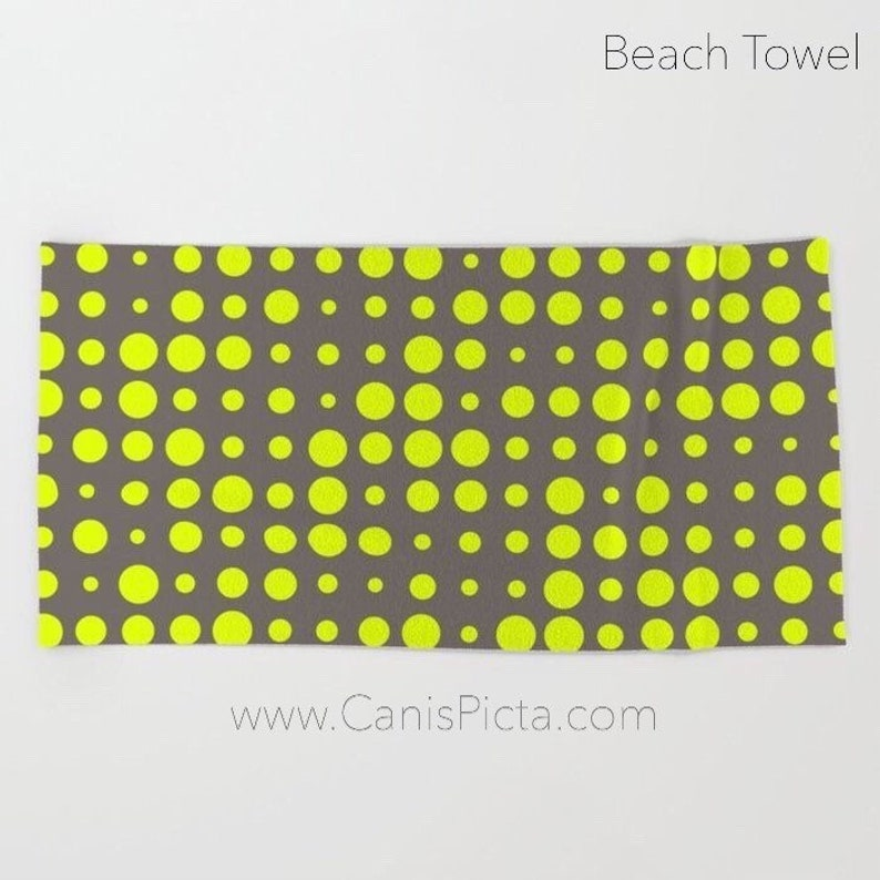 Modern Chartreuse Dots Towel Bath Beach Terry Hand Bathroom image 0