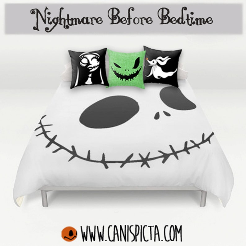 nightmare before christmas bedding duvet jack skellington bed | etsy