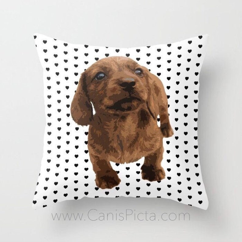 Dachshund Puppy 16x16 Decorative Throw Pillow Cushion Cover image 0