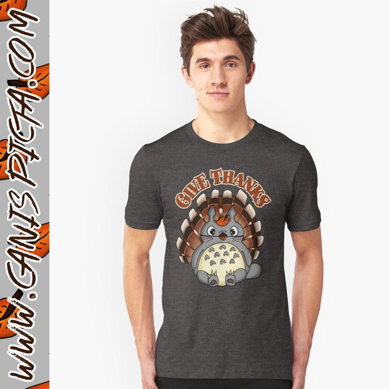 Give Thanks Totoro Shirt Tee Thanksgiving Kawaii Fitted image 0