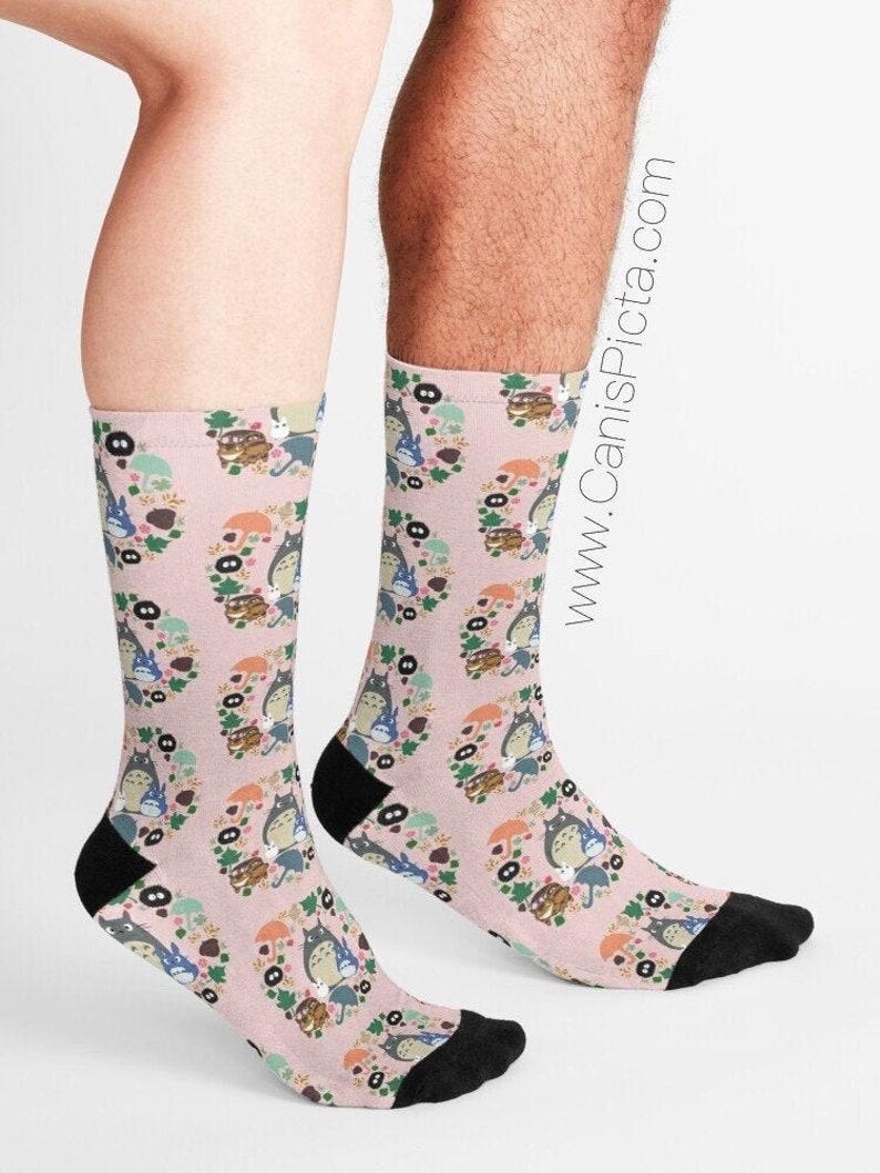 Pink Totoro Wreath Pattern SOCKS Gift Soft Socksy Feet Fashion image 0