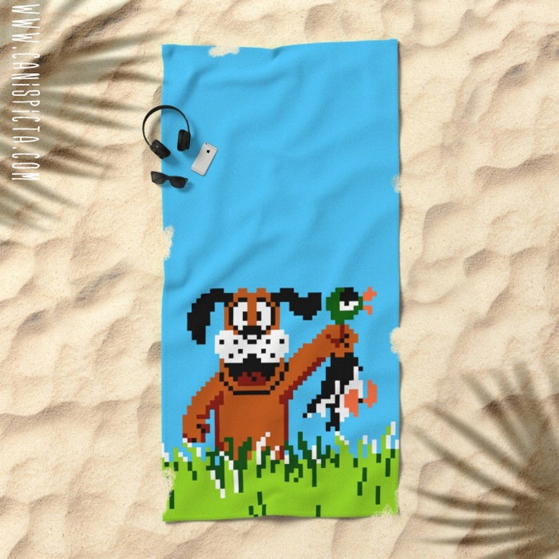 66187f622d8 Duck Hunt Towel Video Game Bath Beach Terry Hand Bathroom Decor Gift Unique  Fandom Gaming Gamer NES Retro Arcade For Guy Men Dog Hunting 80s
