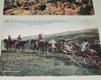 1912 Great Northwern Railway Blackfeet Indians and two 1920s Georgetown Colo postcards