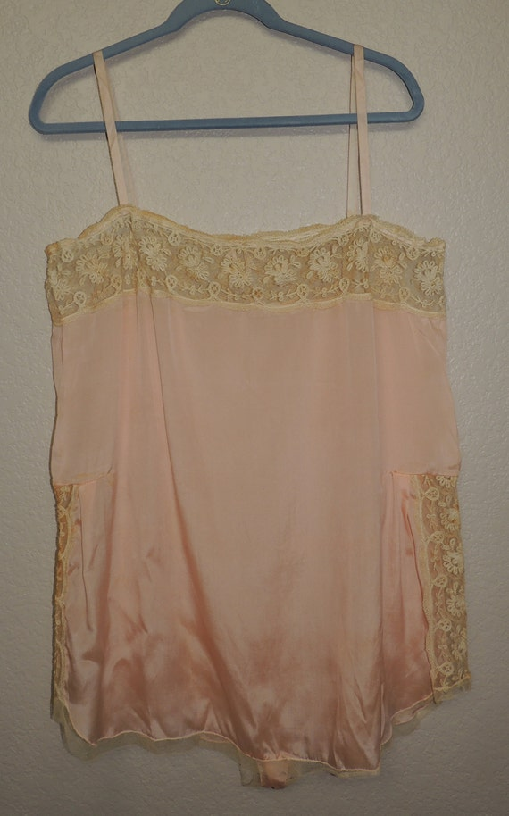 1930s Pink with Lace TEDDY, tag size 44