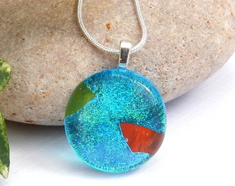 Sky Blue Dichroic Glass Pendant, Fused Glass Jewellery, Blue Red and Green Art Glass Necklace, Small Round Glass Pendant, Best Friend Gift