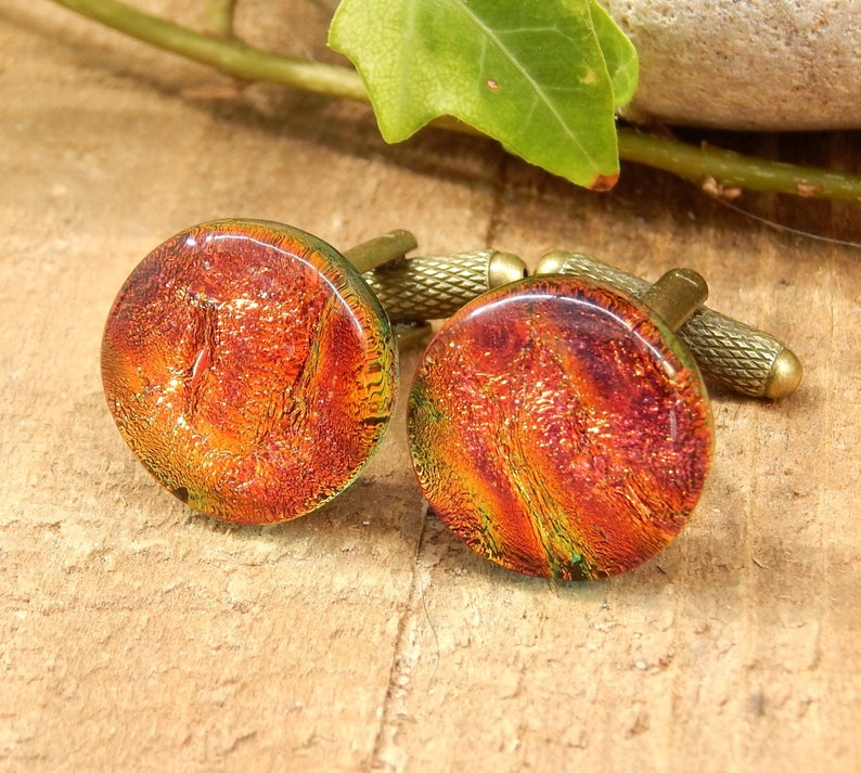 Fused Glass Mens Jewelry Husband Gift Russet Art Glass Cuff Links Red and Gold Dichroic Glass T Bar Cufflinks