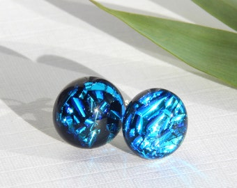 Blue Glass Stud Earrings - Dichroic Glass Post Earrings - Fused Glass Earrings on 925 Sterling Silver - Dichroic Fused Glass Jewelry