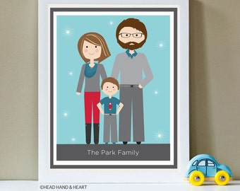 Custom Portrait, Family of Three, Family Portrait, Custom Family Illustration - Holiday Gift