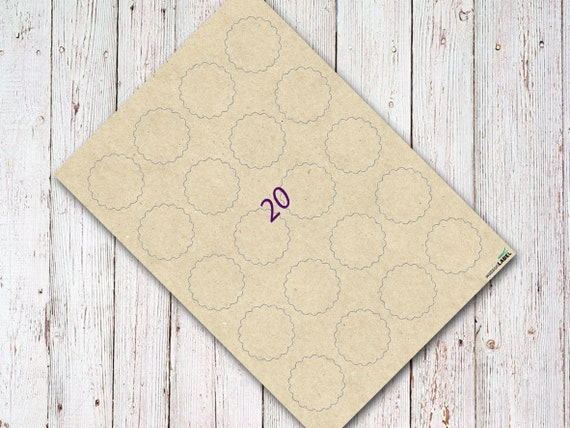 photo relating to Printable Kraft Paper titled 5 sheets kraft paper labels scallop 44 mm printable brown upon sheets peel and adhere