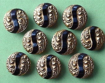 Glass buttons, a set of 10, parti-lustre, vintage. Black glass with gold parti-lustre, very pretty. 2 hole sew-thru's. c 1950's-60's