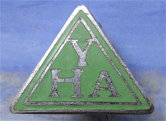 cb3f29e908 YHA Youth Hostels Association badge vintage. Triangle